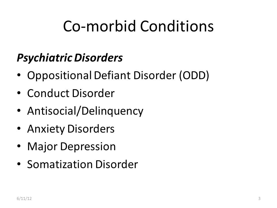 Co-morbid Conditions Psychiatric Disorders