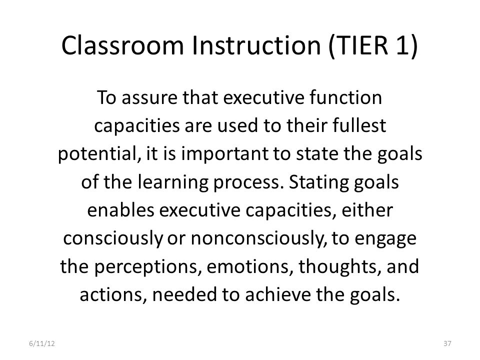 Classroom Instruction (TIER 1)
