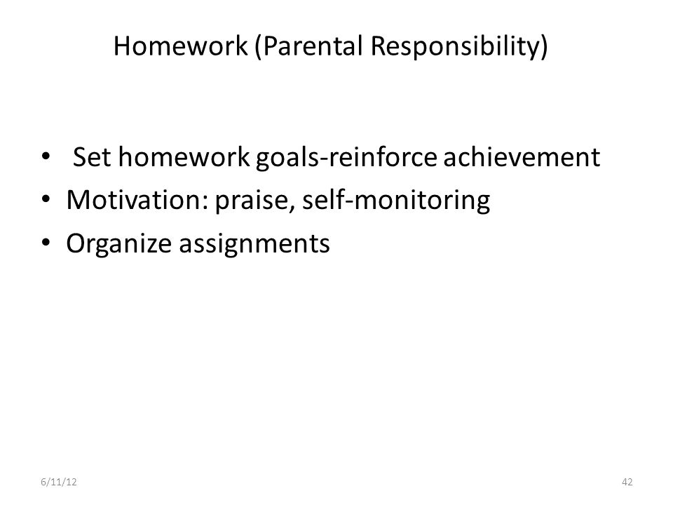 Homework (Parental Responsibility)