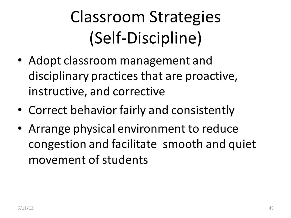 Classroom Strategies (Self-Discipline)