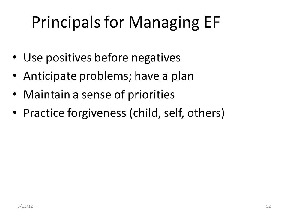 Principals for Managing EF