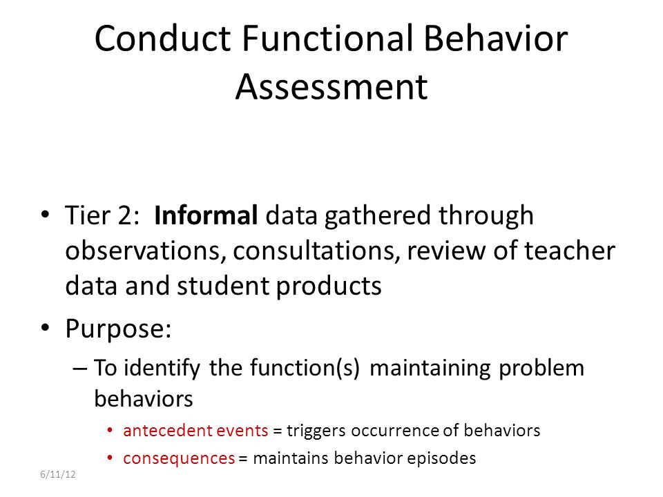 Conduct Functional Behavior Assessment