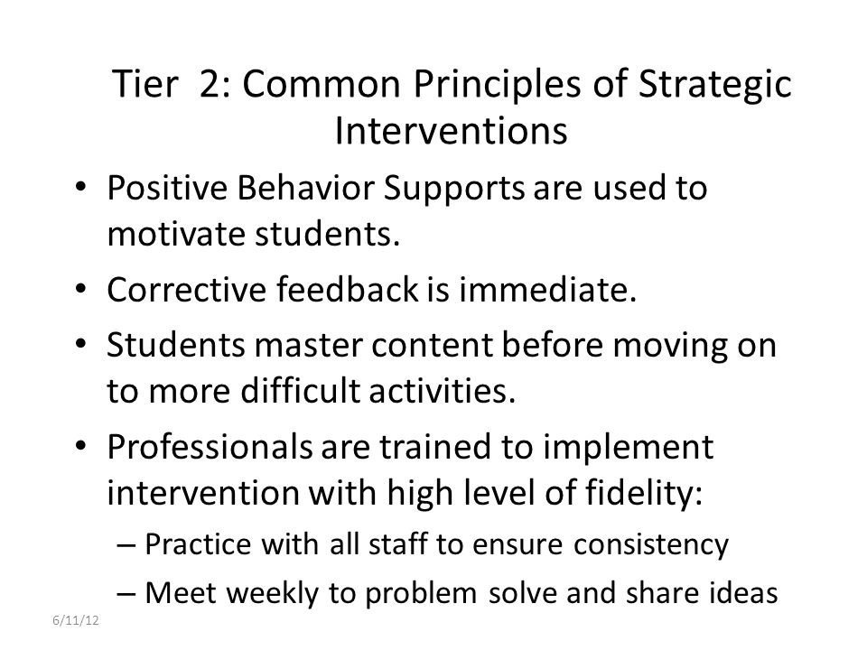 Tier 2: Common Principles of Strategic Interventions