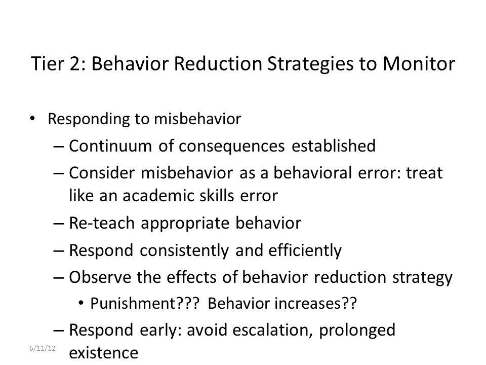 Tier 2: Behavior Reduction Strategies to Monitor