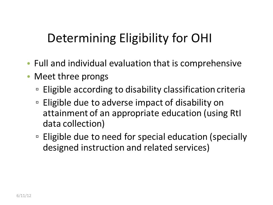 Determining Eligibility for OHI