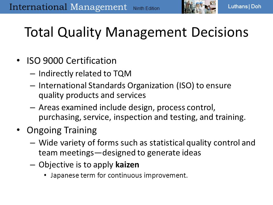 Total Quality Management Decisions