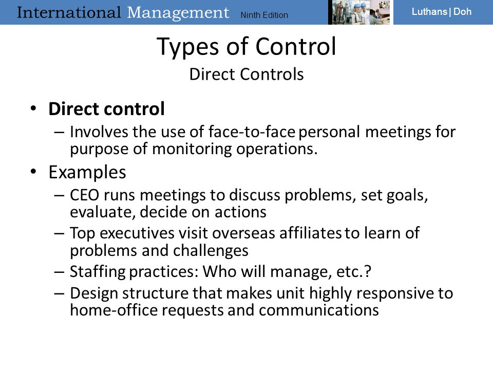 Types of Control Direct Controls