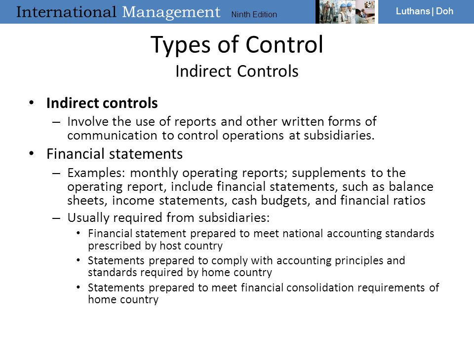 Types of Control Indirect Controls
