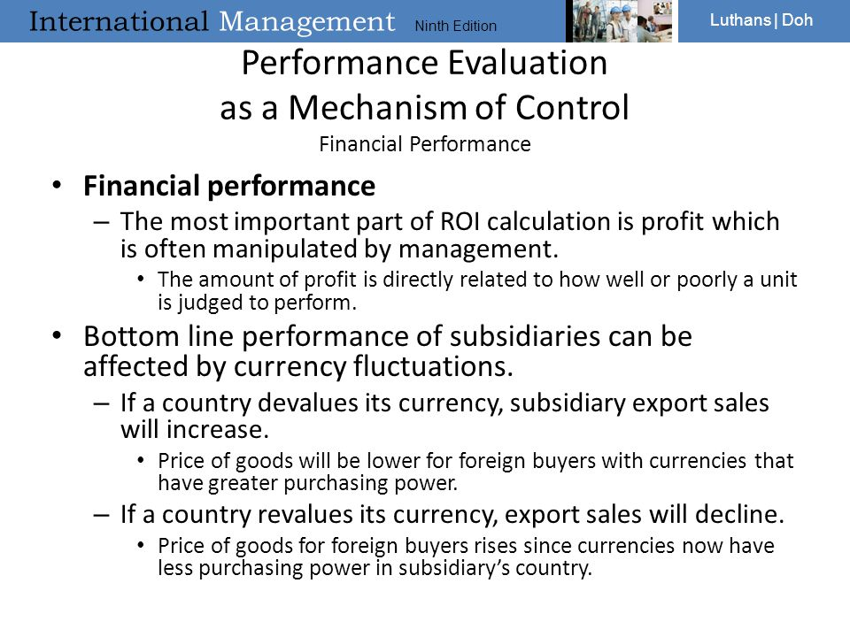 Performance Evaluation as a Mechanism of Control Financial Performance