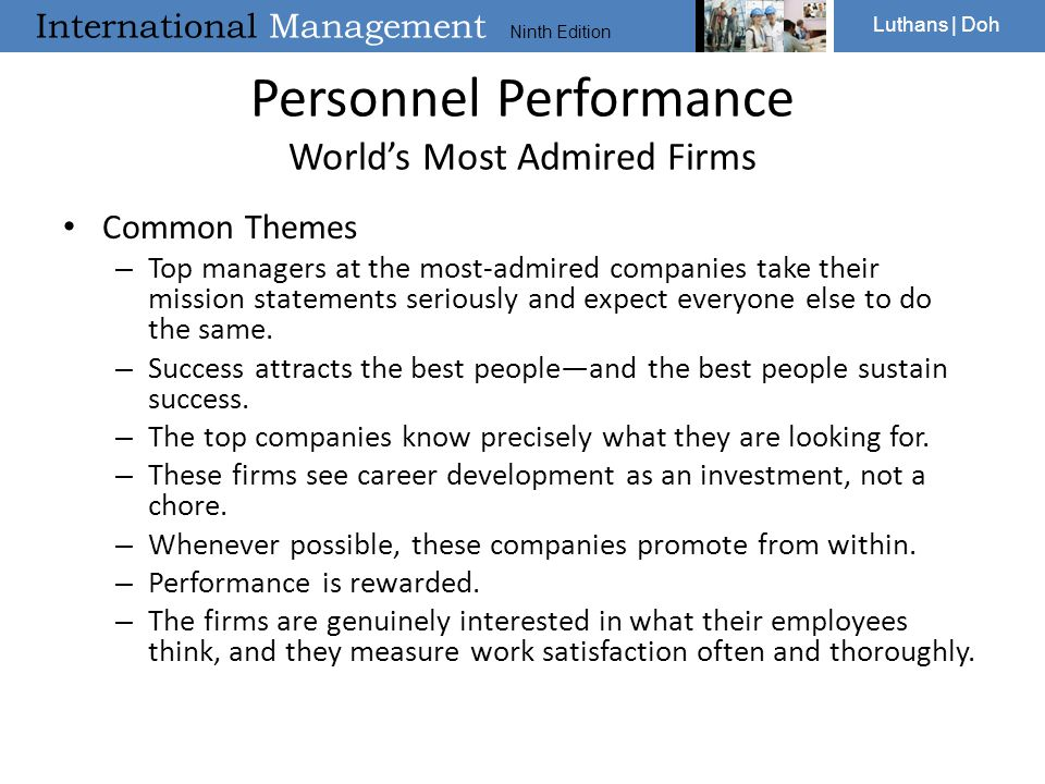 Personnel Performance World's Most Admired Firms