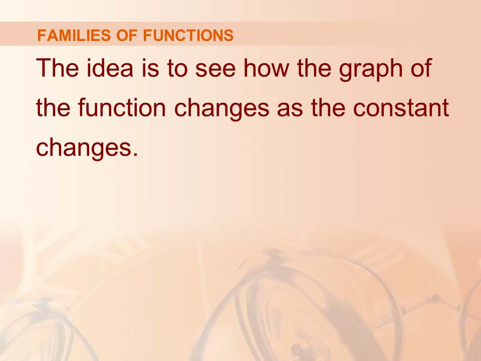 FAMILIES OF FUNCTIONS The idea is to see how the graph of the function changes as the constant changes.
