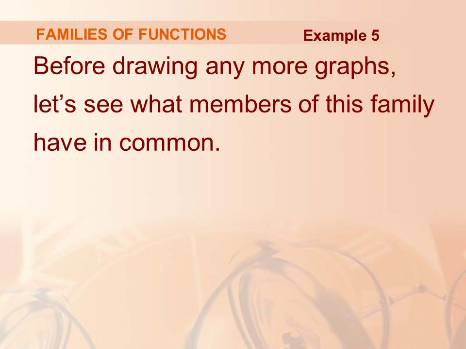 FAMILIES OF FUNCTIONS Example 5.