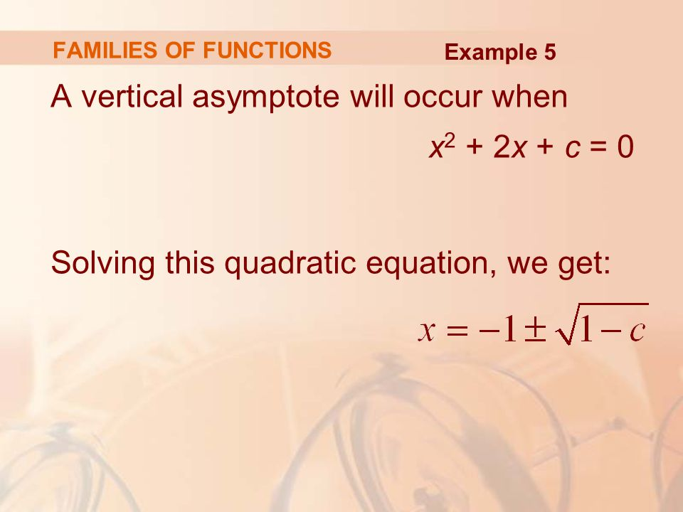 A vertical asymptote will occur when x2 + 2x + c = 0