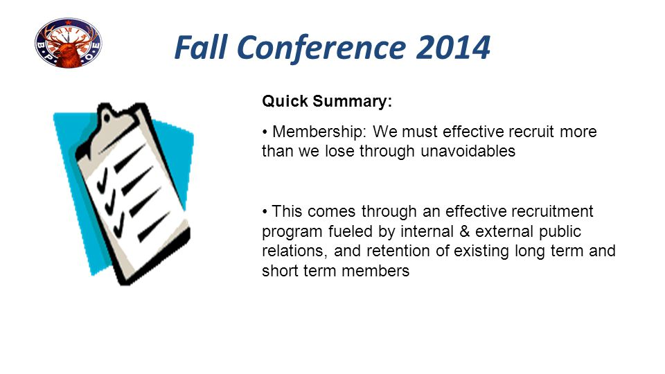 Fall Conference 2014 Quick Summary: