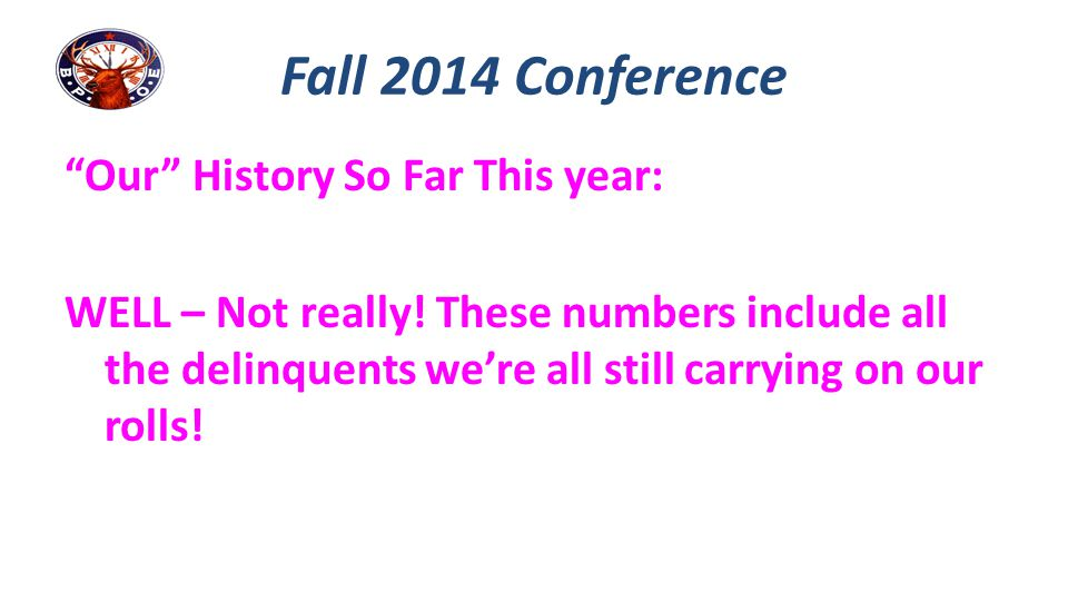 Fall 2014 Conference Our History So Far This year:
