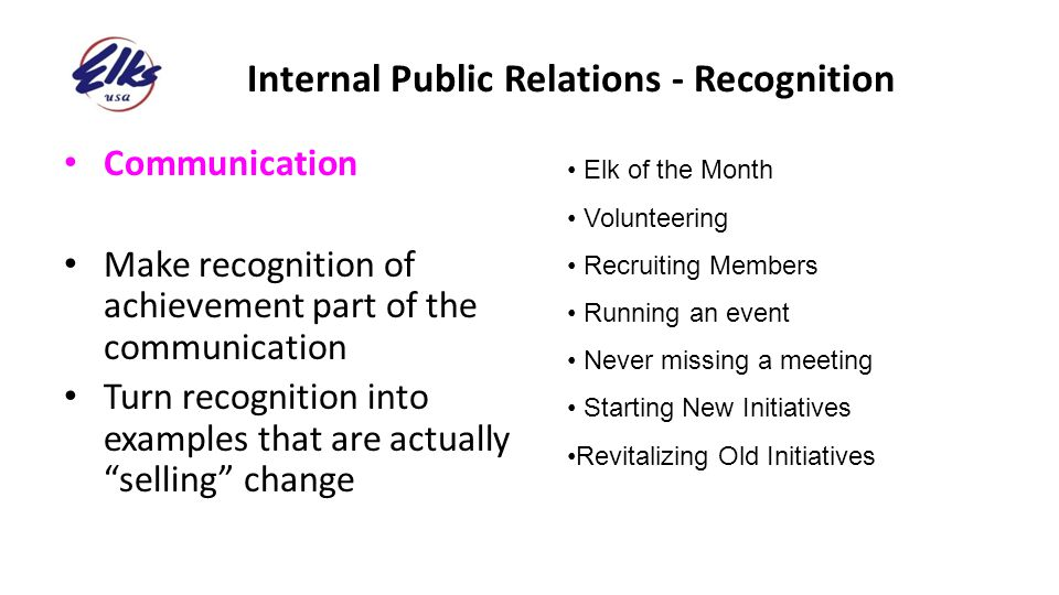 Internal Public Relations - Recognition
