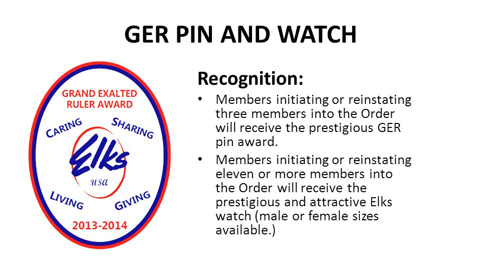 GER PIN AND WATCH Recognition:
