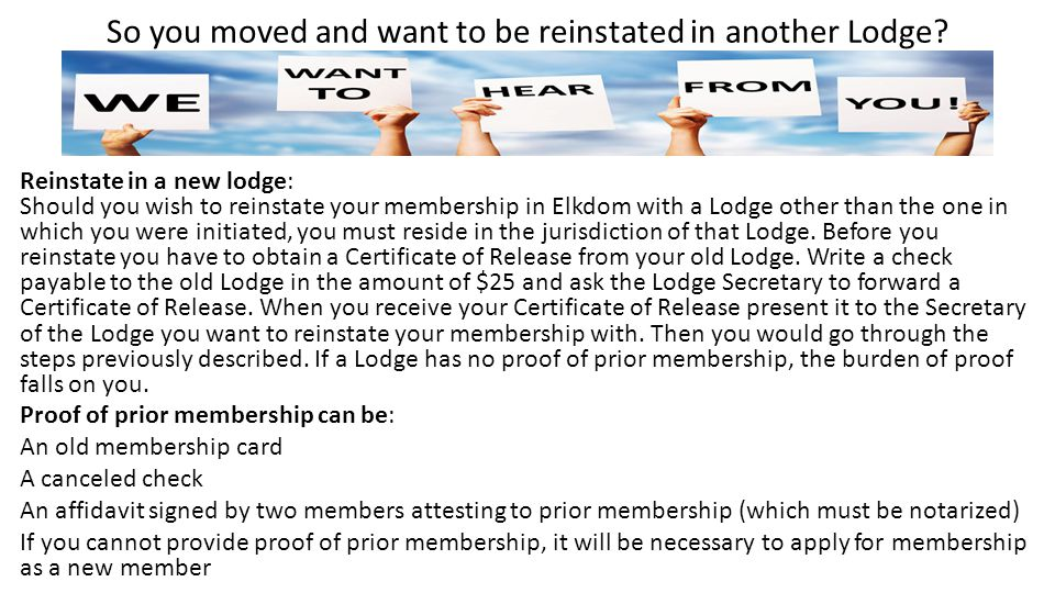 So you moved and want to be reinstated in another Lodge