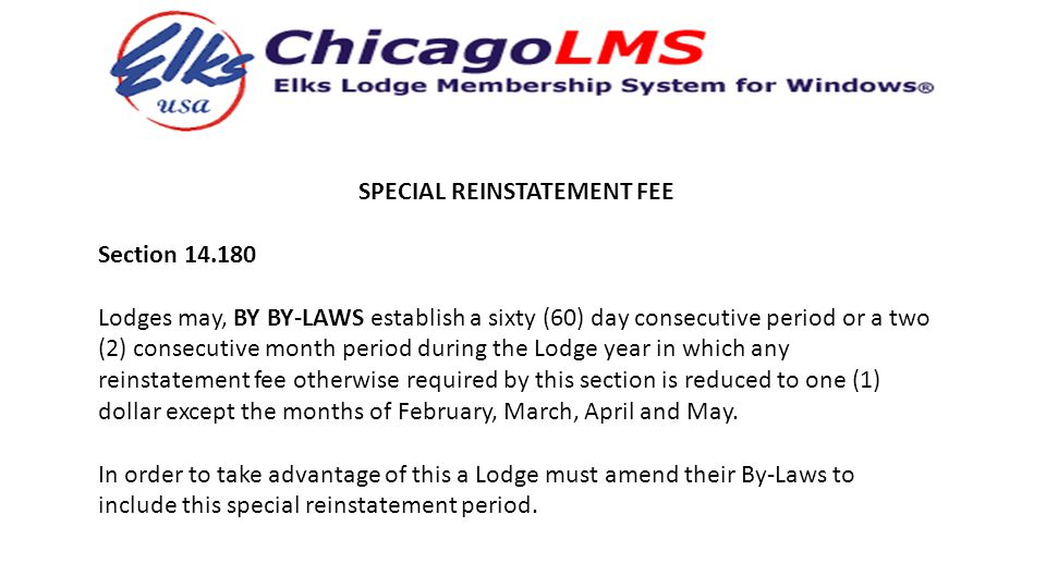 SPECIAL REINSTATEMENT FEE