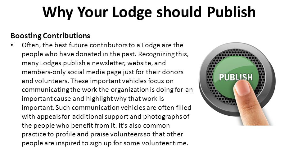 Why Your Lodge should Publish