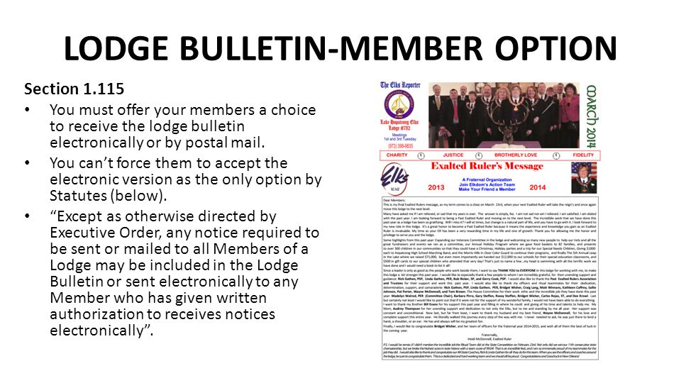LODGE BULLETIN-MEMBER OPTION