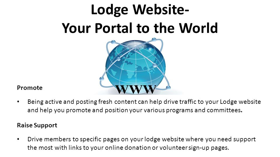 Lodge Website- Your Portal to the World
