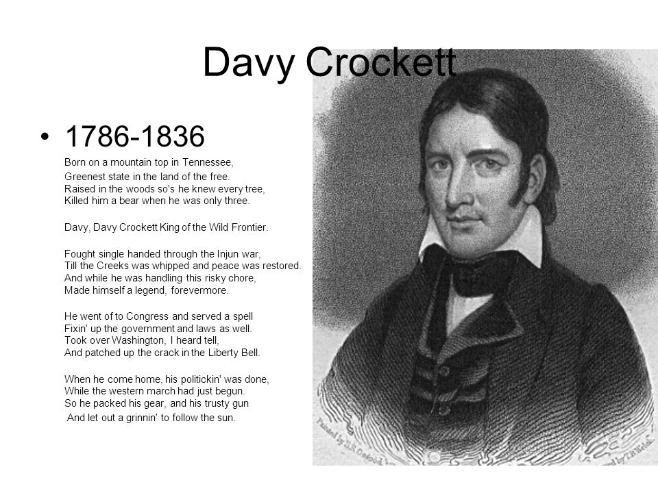 Davy Crockett 1786-1836 Born on a mountain top in Tennessee,