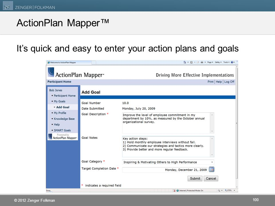ActionPlan Mapper™ It's quick and easy to enter your action plans and goals