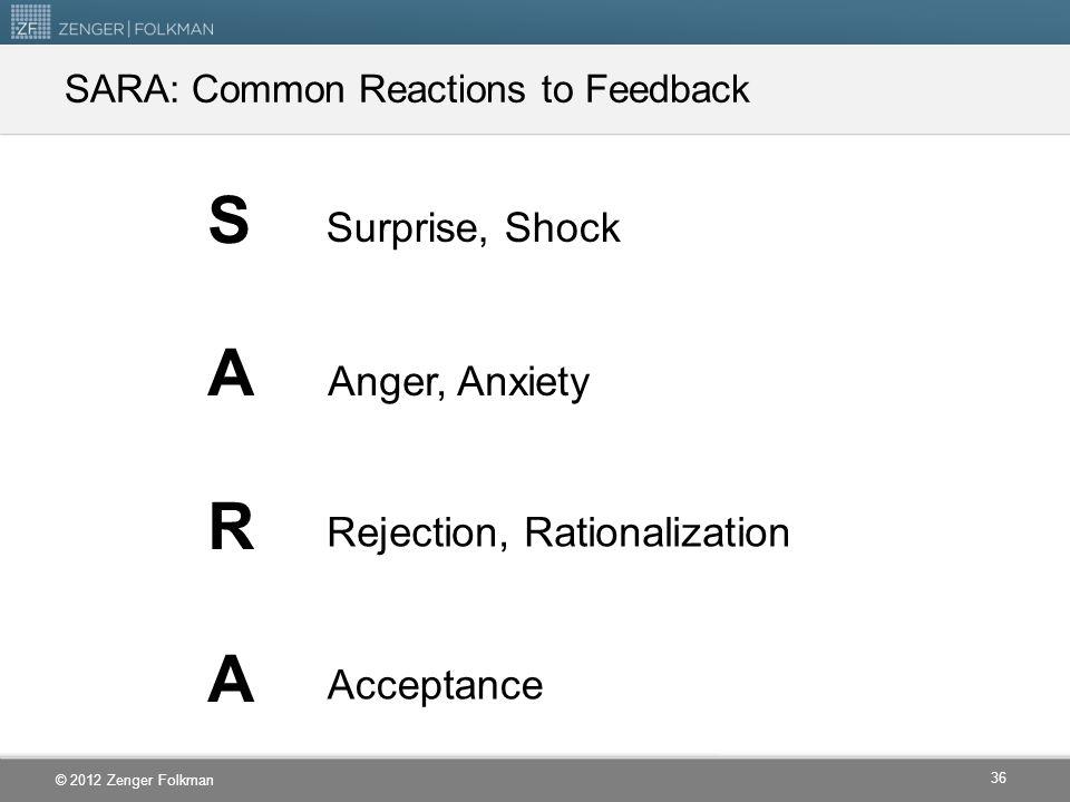 SARA: Common Reactions to Feedback