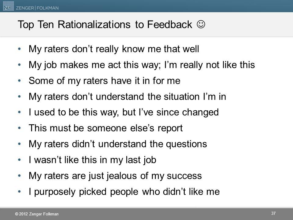 Top Ten Rationalizations to Feedback 