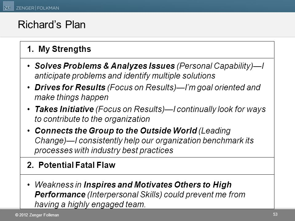 Richard's Plan 1. My Strengths
