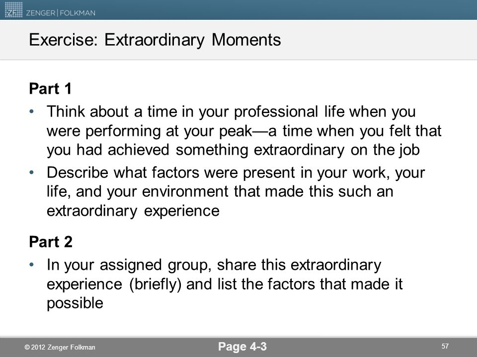 Exercise: Extraordinary Moments