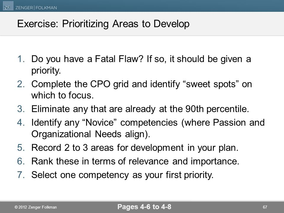 Exercise: Prioritizing Areas to Develop