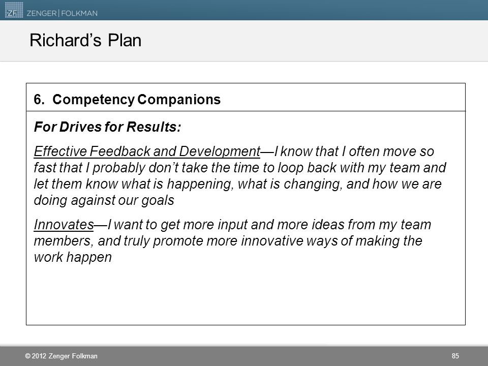 Richard's Plan 6. Competency Companions For Drives for Results: