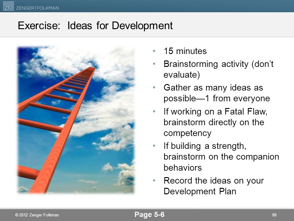 Exercise: Ideas for Development