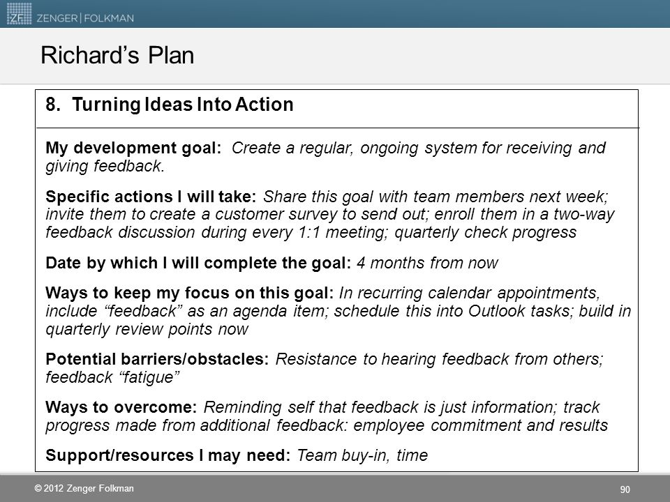 Richard's Plan 8. Turning Ideas Into Action