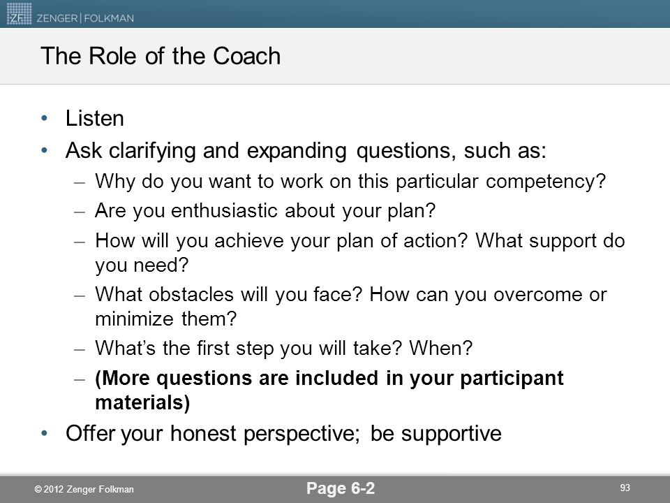The Role of the Coach Listen