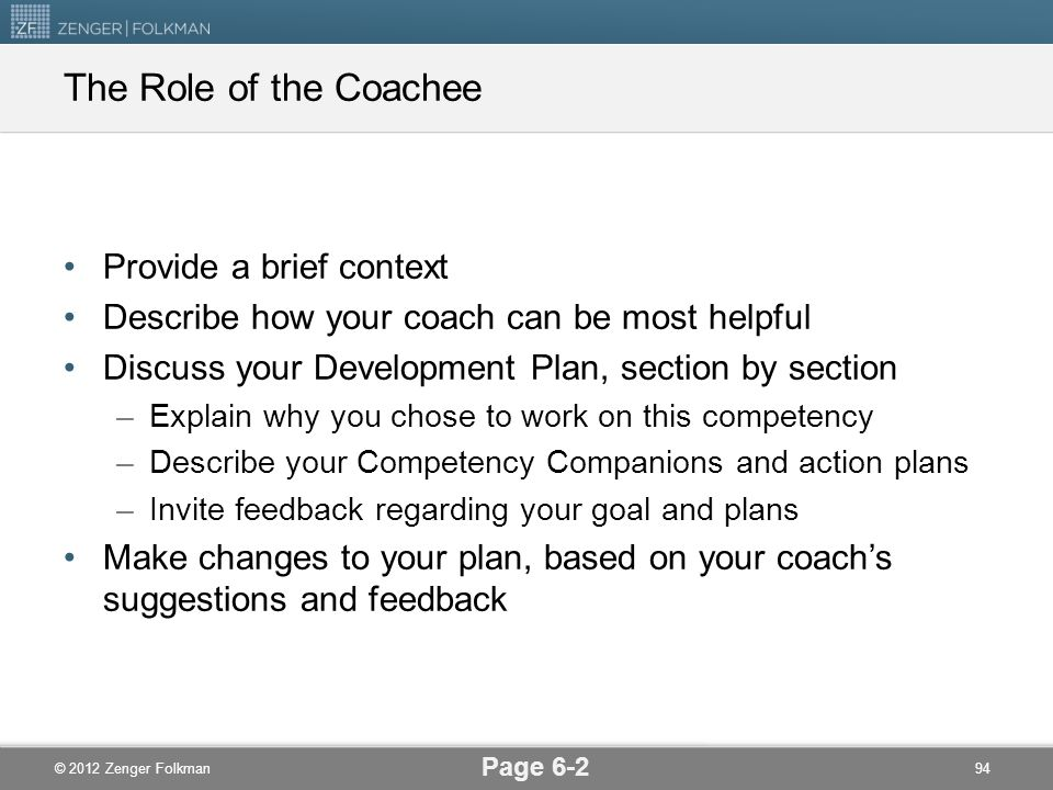 The Role of the Coachee Provide a brief context
