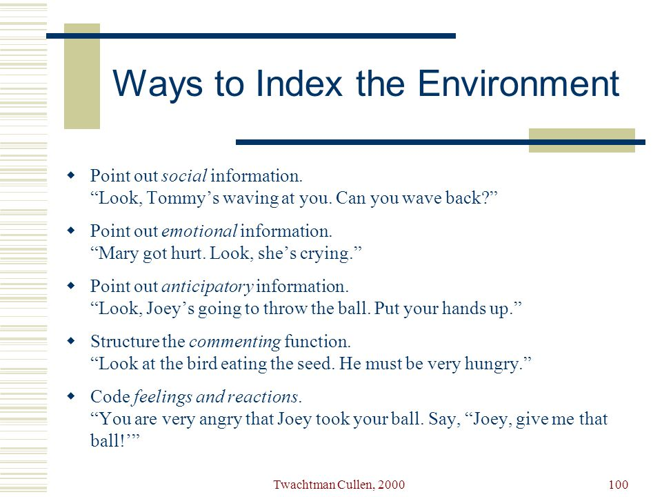 Ways to Index the Environment