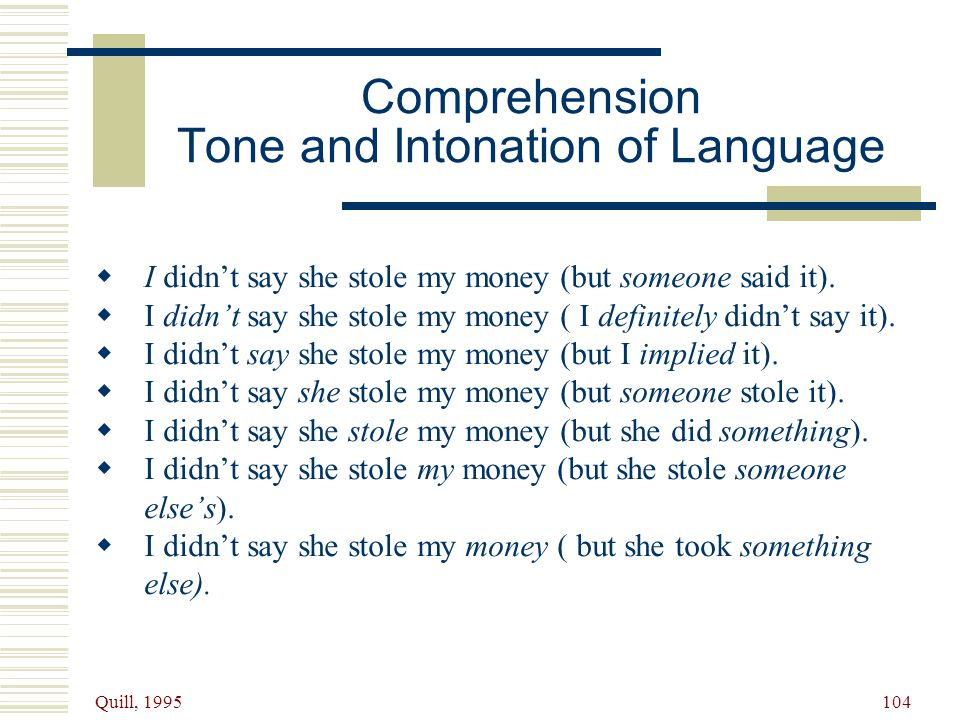 Comprehension Tone and Intonation of Language
