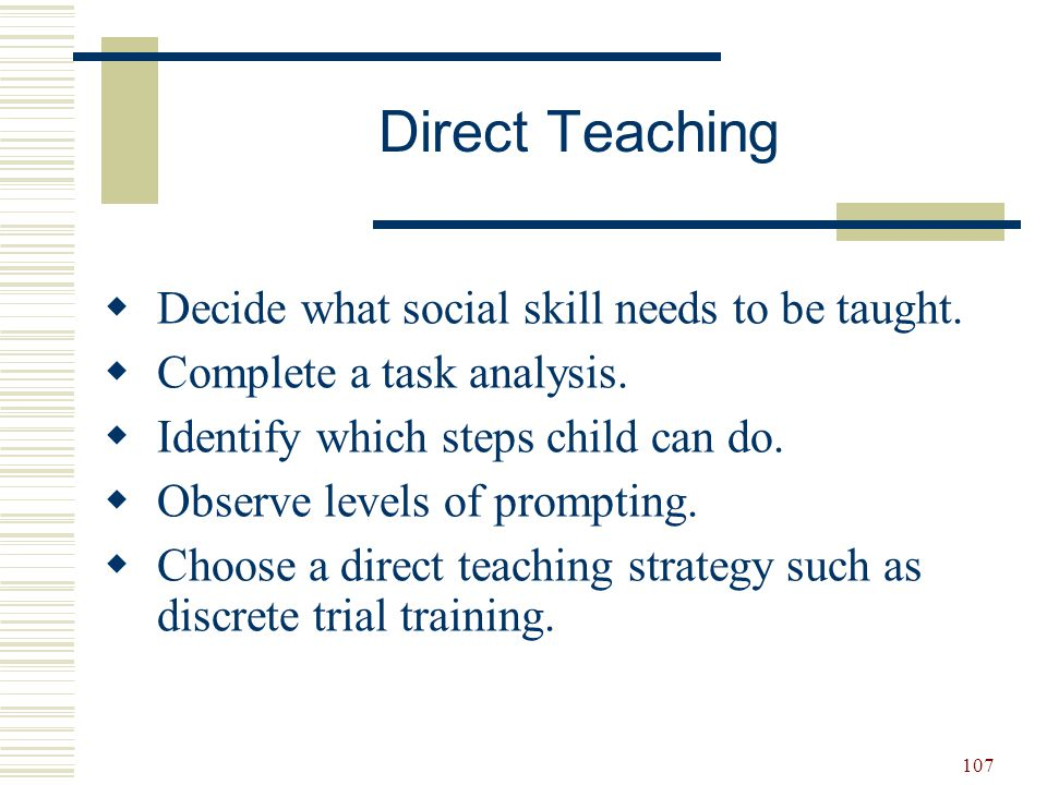 Direct Teaching Decide what social skill needs to be taught.