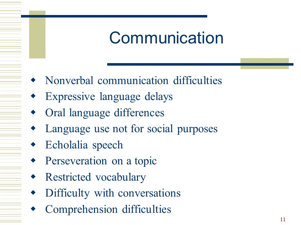 Communication Nonverbal communication difficulties