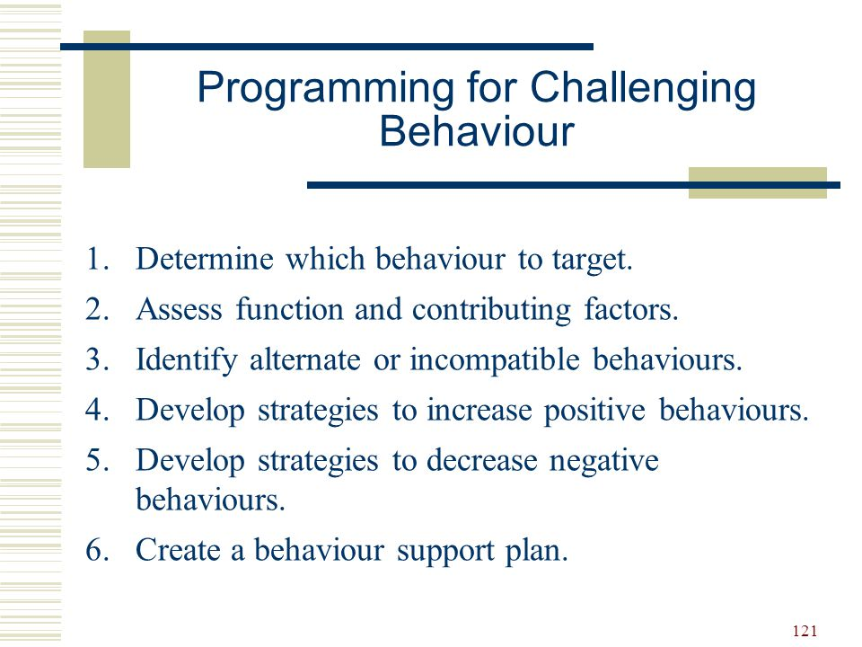 Programming for Challenging Behaviour