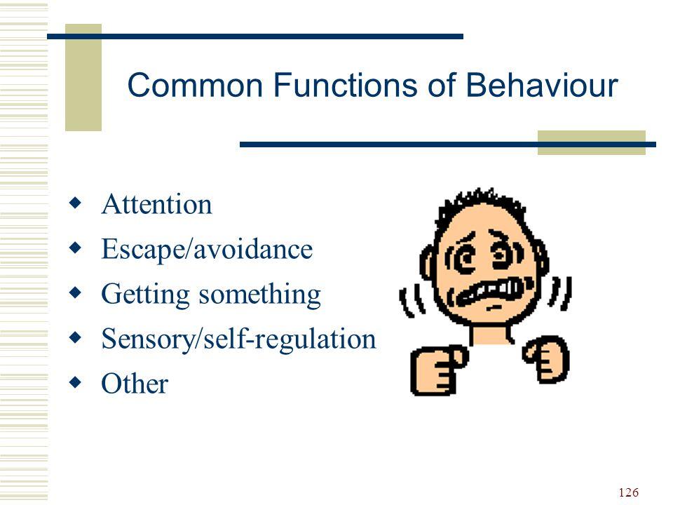 Common Functions of Behaviour