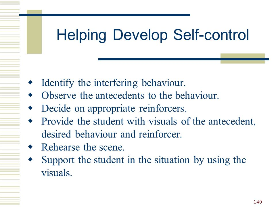 Helping Develop Self-control