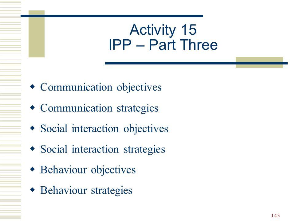 Activity 15 IPP – Part Three