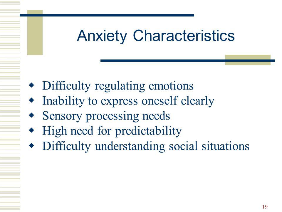 Anxiety Characteristics