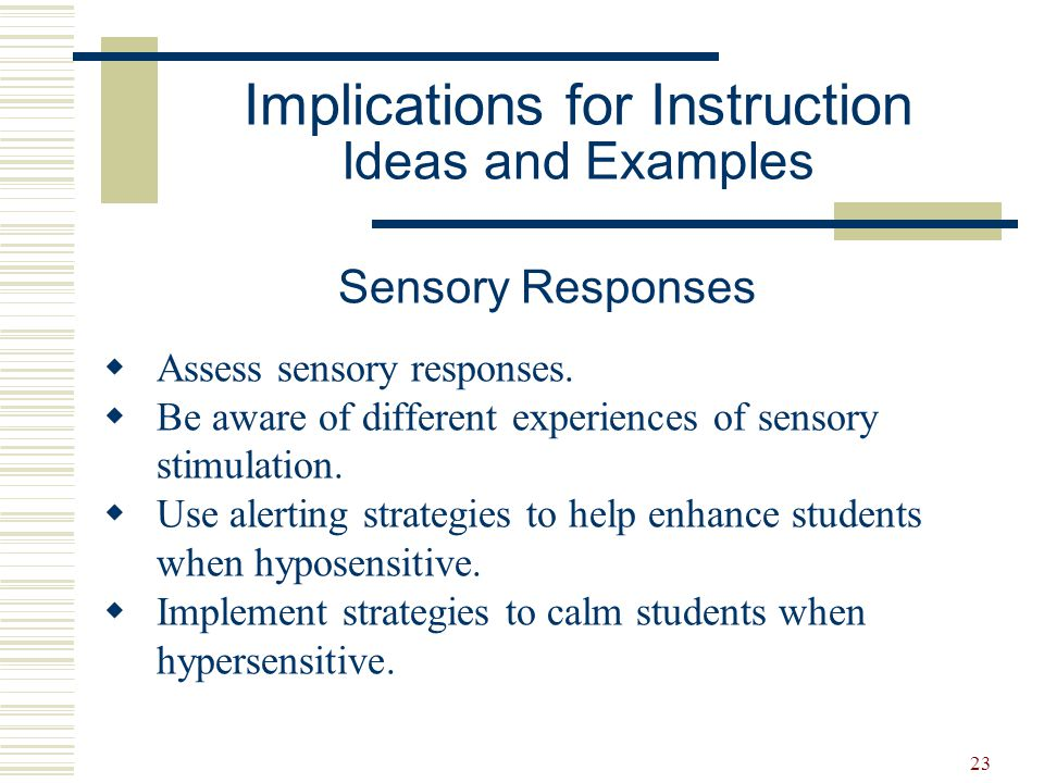 Implications for Instruction Ideas and Examples