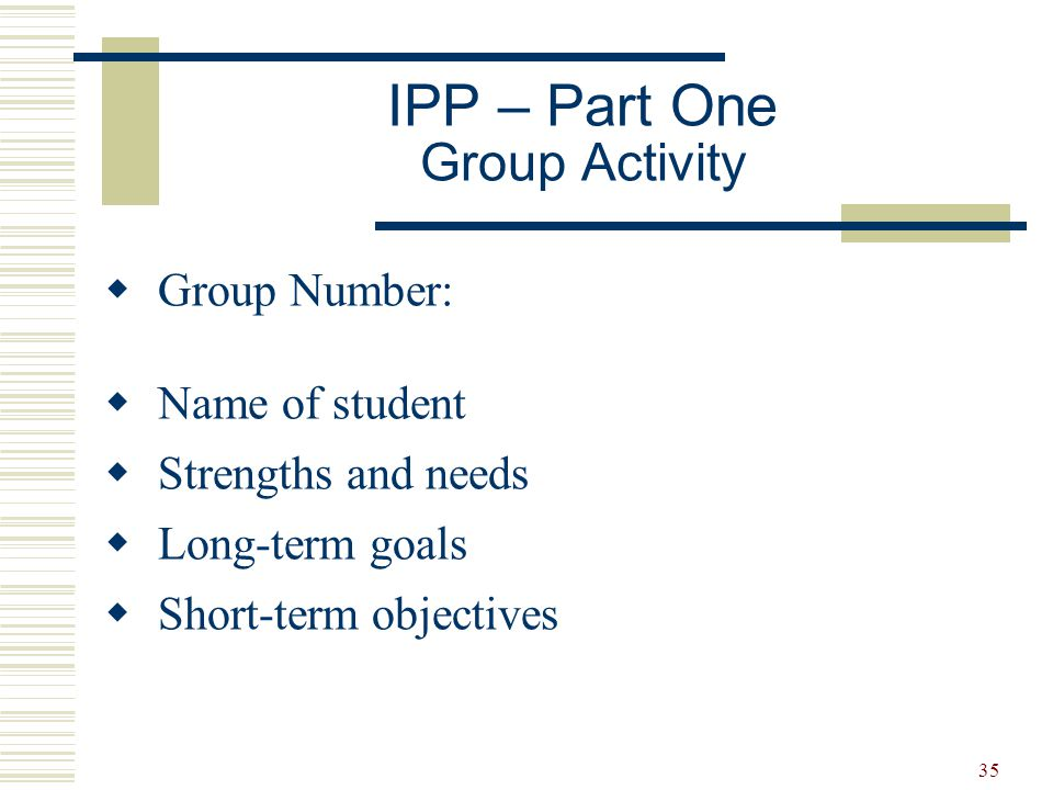 IPP – Part One Group Activity