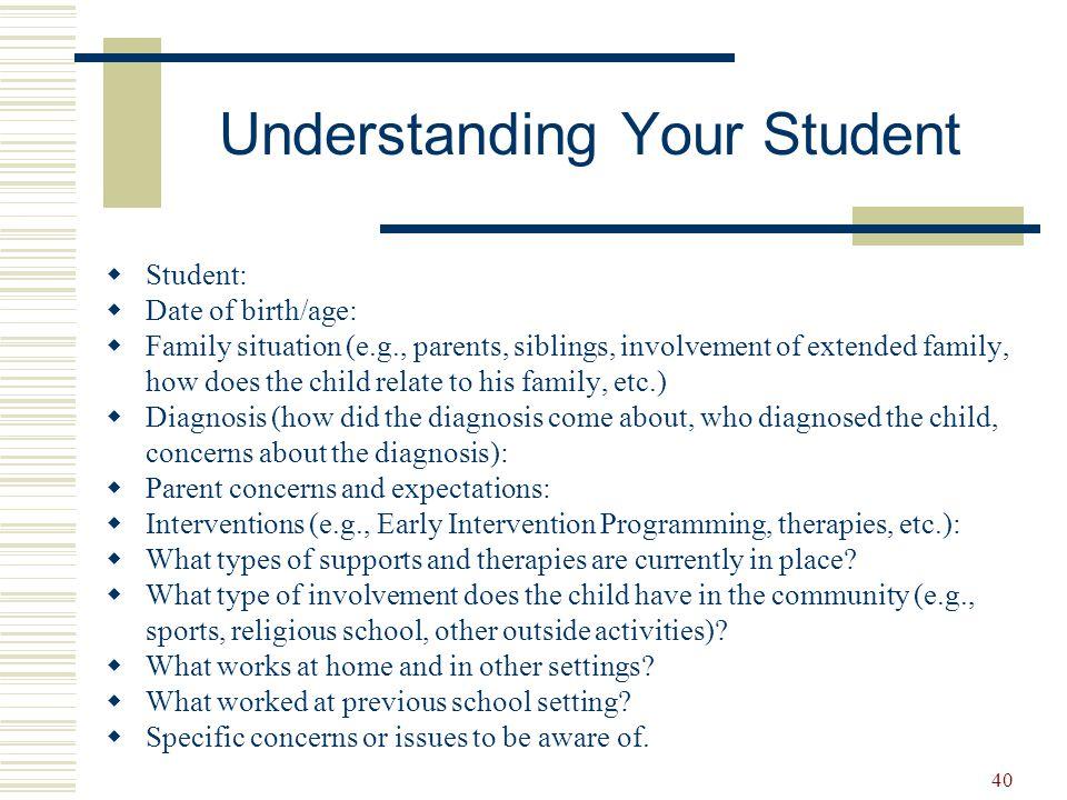 Understanding Your Student